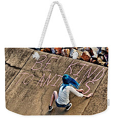 Weekender Tote Bag featuring the photograph Be Kind To Animals by Linda Unger