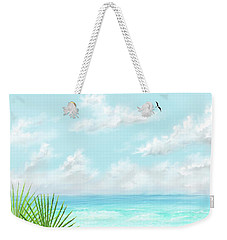 Weekender Tote Bag featuring the digital art Beach And Palms by Darren Cannell