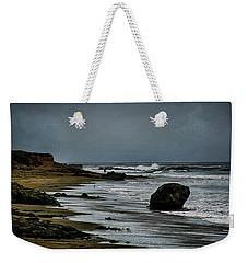 Weekender Tote Bag featuring the photograph Beach Boulder by Joseph Hollingsworth