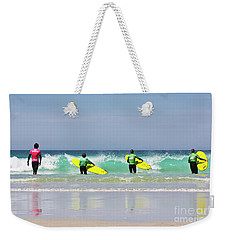 Weekender Tote Bag featuring the photograph Beach Boys Go Surfing by Terri Waters