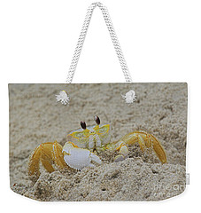 Beach Crab In Sand Weekender Tote Bag by Randy Steele