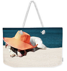 Weekender Tote Bag featuring the photograph Beach Day For Bubba by Shelley Neff
