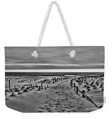 Weekender Tote Bag featuring the photograph Beach Entry In Black And White by Paul Ward