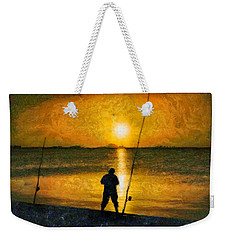 Weekender Tote Bag featuring the photograph Beach Fishing  by Scott Carruthers