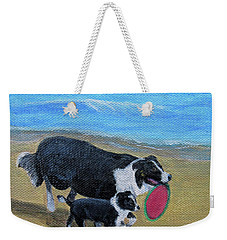 Weekender Tote Bag featuring the painting Beach Frisbee by Fran Brooks