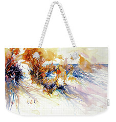 Weekender Tote Bag featuring the painting Beach Grass Shadows by Rae Andrews