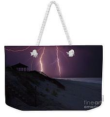 Beach Lighting Storm Weekender Tote Bag by Randy Steele