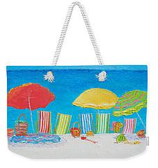 Beach Painting - Deck Chairs Weekender Tote Bag by Jan Matson
