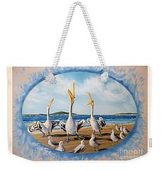 Flying Lamb Productions            Pelicans   Beach Platoon Weekender Tote Bag