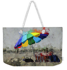 Weekender Tote Bag featuring the mixed media Beach Ready by Trish Tritz
