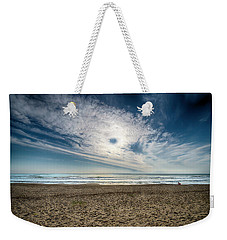 Weekender Tote Bag featuring the photograph Beach Sand With Clouds - Spiagggia Di Sabbia Con Nuvole by Enrico Pelos