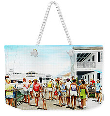 Beach/shore II Boardwalk Beaufort Dock - Original Fine Art Painting Weekender Tote Bag