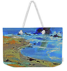 Weekender Tote Bag featuring the painting Beach Solitude by Walter Fahmy