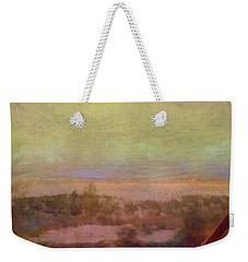 Weekender Tote Bag featuring the digital art Beach Stairs With Hazy Sky by Michelle Calkins