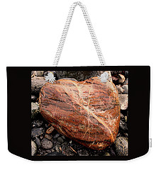 Beach Stone Heart Weekender Tote Bag