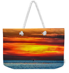 Weekender Tote Bag featuring the photograph Beach Sunset And Boat by Mariola Bitner