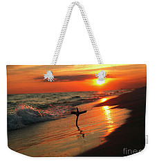 Beach Sunset And Cross Weekender Tote Bag by Luana K Perez