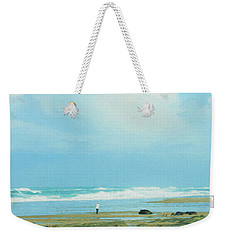 Weekender Tote Bag featuring the photograph Beach Walk Painted by Mary Jo Allen