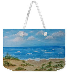 Weekender Tote Bag featuring the painting Beach Waves by Sonya Nancy Capling-Bacle
