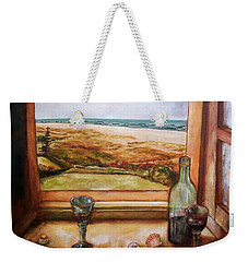 Weekender Tote Bag featuring the painting Beach Window by Winsome Gunning