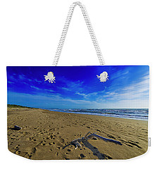 Weekender Tote Bag featuring the photograph Beach With Wood Trunk - Spiaggia Con Tronco I by Enrico Pelos