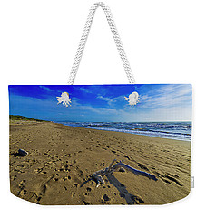 Weekender Tote Bag featuring the photograph Beach With Wood Trunk - Spiaggia Con Tronco II by Enrico Pelos
