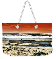 Weekender Tote Bag featuring the photograph Beach With Wood Trunk - Spiaggia Con Tronco IIi by Enrico Pelos