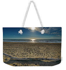 Weekender Tote Bag featuring the photograph Beach With Wood Trunk - Spiaggia Con Tronco Iv by Enrico Pelos