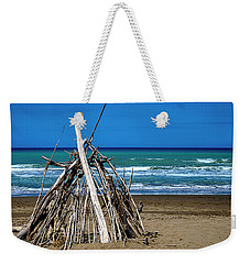 Weekender Tote Bag featuring the photograph Beach With Wooden Tent - Spiaggia Con Tenda Di Legno by Enrico Pelos
