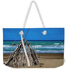 Beach With Wooden Tent - Spiaggia Con Tenda Di Legno Weekender Tote Bag