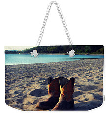 Weekender Tote Bag featuring the painting Beached Boots by Cyryn Fyrcyd