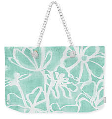 Weekender Tote Bag featuring the mixed media Beachglass And White Flowers 2- Art By Linda Woods by Linda Woods