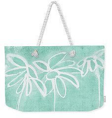 Weekender Tote Bag featuring the mixed media Beachglass And White Flowers 3- Art By Linda Woods by Linda Woods