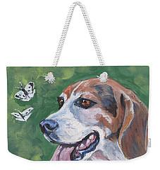 Beagle And Butterflies Weekender Tote Bag by Lee Ann Shepard