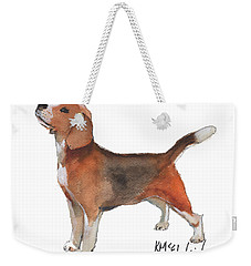 Beagle Watercolor Painting By Kmcelwaine Weekender Tote Bag by Kathleen McElwaine