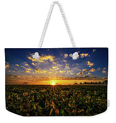 Weekender Tote Bag featuring the photograph Bean Field Dawn by John Harding