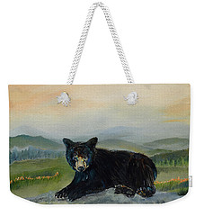 Weekender Tote Bag featuring the painting Bear Alone On Blue Ridge Mountain by Jan Dappen