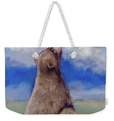 Weekender Tote Bag featuring the pastel Bear And Butterfly by Billie Colson