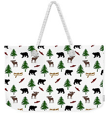 Bear Moose Pattern Weekender Tote Bag