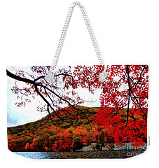 Weekender Tote Bag featuring the photograph Bear Mountain Hessian Lake Autumn by Janine Riley