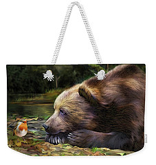Weekender Tote Bag featuring the mixed media Bear's Eye View by Carol Cavalaris
