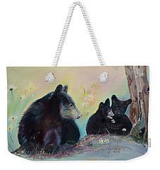 Weekender Tote Bag featuring the painting Bears Frolicking In Spring by Jan Dappen