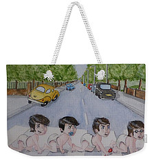 Weekender Tote Bag featuring the painting Beatles Abbey Road .... Babies by Kelly Mills