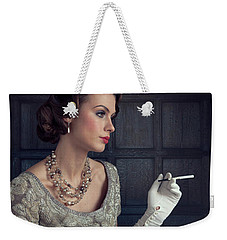 Beautiful 1930s Woman With Cocktail And Cigarette Weekender Tote Bag