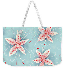 Beautiful Abstract White Red Flowers Weekender Tote Bag