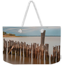 Weekender Tote Bag featuring the photograph Beautiful Aging Pilings In Keyport by Gary Slawsky