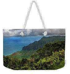 Weekender Tote Bag featuring the photograph Beautiful And Illusive Kalalau Valley by John Hight
