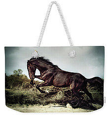 Beautiful Black Stallion Horse Running On The Stormy Sky Weekender Tote Bag