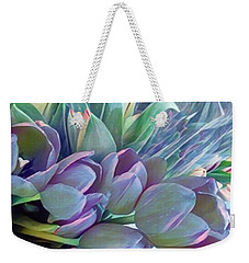 Weekender Tote Bag featuring the photograph Beautiful Blues Of Spring - Tulips by Miriam Danar
