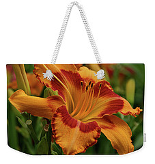 Weekender Tote Bag featuring the photograph Beautiful Daylily by Sandy Keeton
